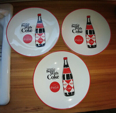 """3 Coca Cola Gibson Dinner Plates 10 1/2"""" Coke """"Things Go Better With Coke"""""""