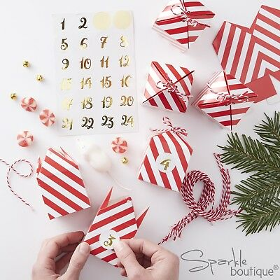 FILL-YOUR-OWN ADVENT CALENDAR BOX KIT -Red & White Stripes / Gold Stickers- XMAS