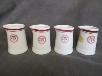 Sterling CHINA RESTAURANT WARE - U.S. ARMY MEDICAL CADUCEUS 4 Creamers el2