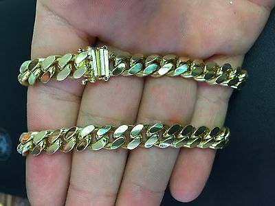 "8.66mm 14k YELLOW GOLD SOLID 24"" MIAMI CUBAN LINK MENS CHAIN  133.7 g"
