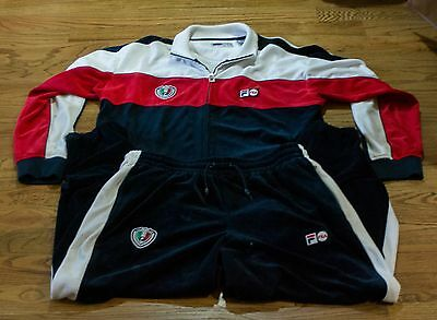 Vtg Fila Warm Up Outfit - Mens - Red/white/blue - Sz 2Xl Top & Sz Large Bottom