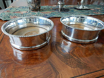 Antique Sterling Silver Wine or Bottle Coasters - John Grinsell & Sons