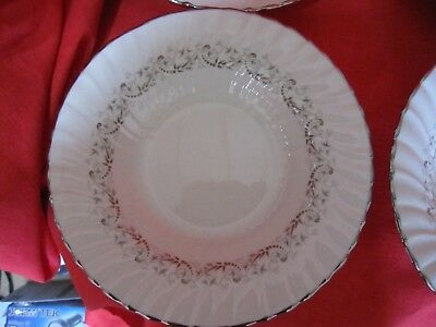 One Franciscan China Corinthian  Rimmed Soup Bowl Platinum Trim Swirled Rim
