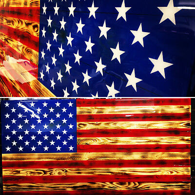 """39"""" x 21"""" Large Wooden American Flag Distressed Torn Hand-Crafted Rustic Burnt"""