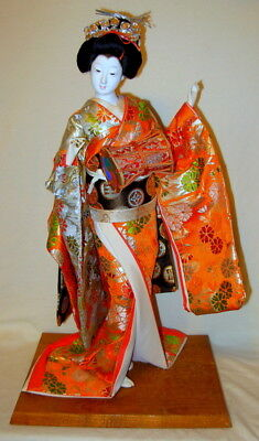 Vintage Japanese Traditional Gofun Geisha Doll with Drum