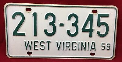 1958 West Virginia License Plate Tag 213-345