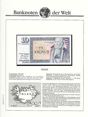 Banknotes of World Iceland 1981 10 Kronur GEM UNC P48a.3 sign 42 Prefix A
