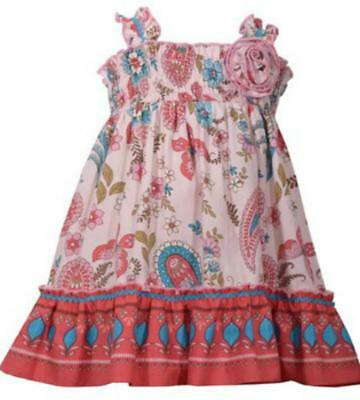73b2cb57e702 GIRLS SIZE 12M Bonnie Jean Paisley Print Smocked Dress and Bloomers ...
