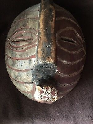 Rare Original Old African Hand Carved Wooden Songye Kifwebe Mask from Zaire!