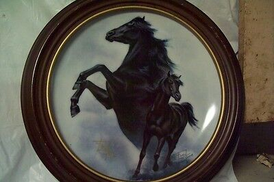 Fred Stone Collector Plate The Black Stallion - horse - with wooden plate frame