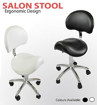 Black Saddle Stool Gas Lift With Backrest Wide Seat