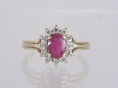 Vintage Estate 14k Yellow Gold Natural Oval Cut Ruby Diamond Halo Cocktail Ring
