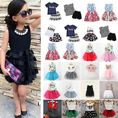 Kids Girls Floral Dress Shirts Mini Skirts Summer Party Sundress Outfits Clothes