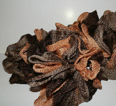 Fashion SPIRAL RUFFLE SCARF NEW Hand Made Shades of Brown Fall Colors