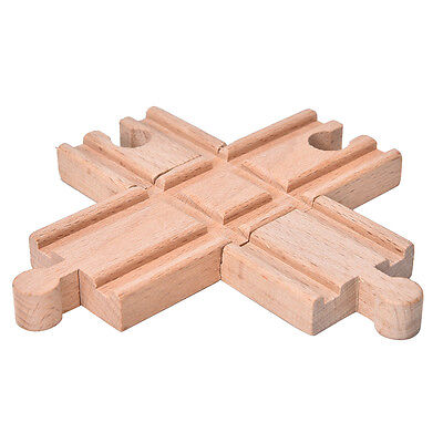 1 Pcs Wooden Cross Bifurcated Track Railway Toys Compatible All Major Brand TSUS
