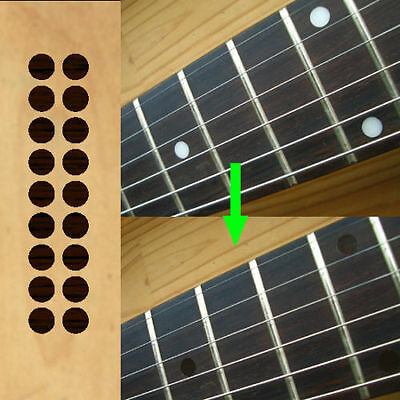 "1/4"" (6.35mm) Dots /Rosewood color Fretboard Markers Inlay Sticker Decal Guitar"