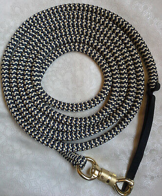 12ft (3.6m) Lead Rope Brass Snap -  Navy/Beige Zig Zag - by Natural Equipment