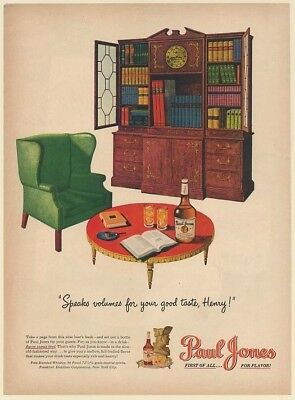 1947 Paul Jones Whiskey Bottle Set Out for Guests Wise Hosts Book Print Ad