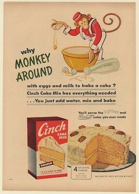 1950 Why Monkey Around with Eggs and Milk Cinch Cake Mix Print Ad