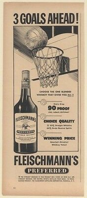 1950 Fleischmann's Preferred Whiskey 3 Goals Basketball Theme Print Ad