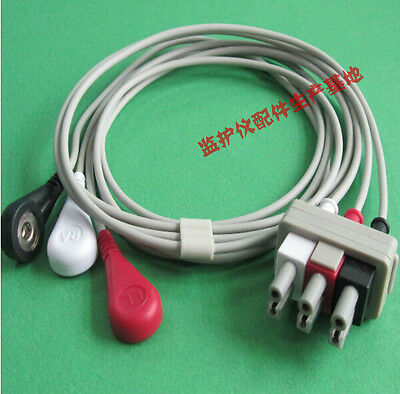 Compatible Philips M11605A 3-lead ECG Leadwire,AHA,Snap,G312AA