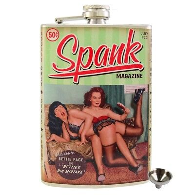 Bettie Page Spank Stainless Steel Hip Flask Gift Retro Pin Up Rockabilly 50s