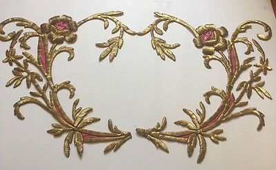 2 PC ANTIQUE OTTOMAN TURKISH GOLD METALLIC HAND EMBROIDERY FOR APPLIQUE 43cm
