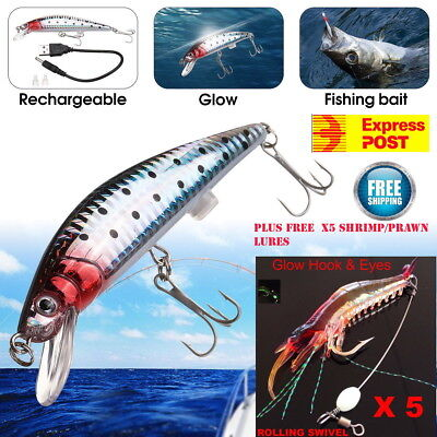 Rechargeable Twitching Fishing Lures Bait USB Tournament & 5x Prawn Shrimp Lure