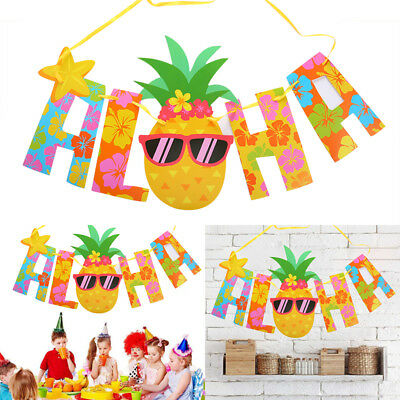 Hawaii Party Pennant Glitter Letter Pineapple Hanging Banners Luau Decor