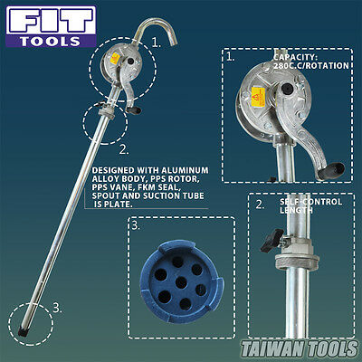 FIT TOOLS Aluminum Hand Operation Rotary Acting Drum Pump