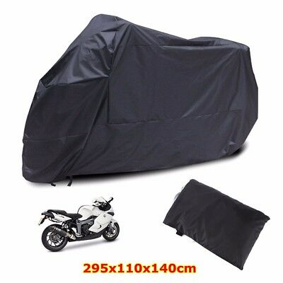 XXXL 180T Black Motorcycle Cover Large Rain Dust Outdoor UV Rainproof Protector