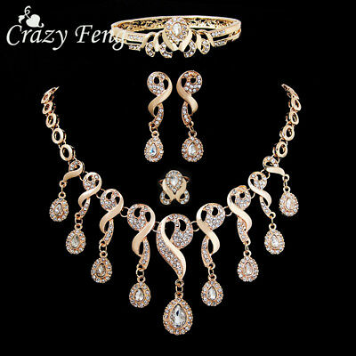 Fashion Women Gold Plated Crystal Jewelry Sets Necklace Bracelet Earring Rings