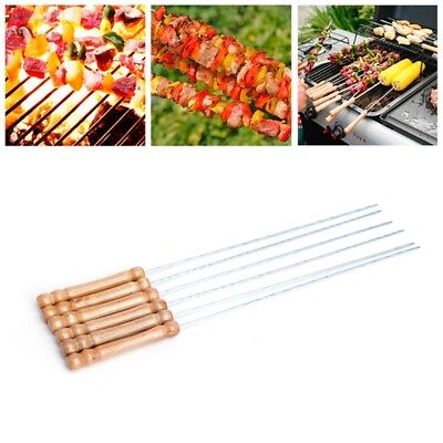6pcs Stainless BBQ Roast Steel Barbecue Skewer Grill Kebab Stick Needles