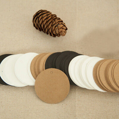 100 Blank Kraft Paper Round Hang Tags Party Favor Label Price Cards Gift DIY