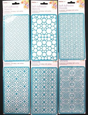 Self-Adhesive Geometric Stencils - Scrapbooking Art Diy Fonts Alphabetical Paint