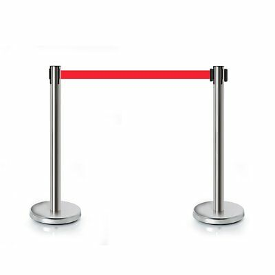 2/4/6 Polished Steel Queue Rope Barrier Red Rope Stanchion Posts Stands Quality