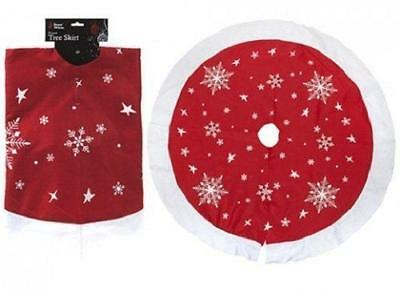 Large Christmas Xmas Tree Skirt Base Cover Decoration Red with Snowflakes 90cm