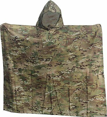 """Waterproof Ripstop Hooded Nylon Poncho Long 55 x 90"""" Made in U.S.A. Multi Cam"""