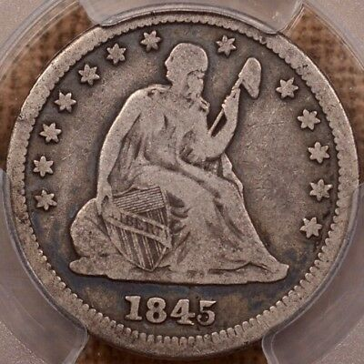1845/5 B.3/C Seated quarter, PCGS F12, crusty original   DavidKahnRareCoins