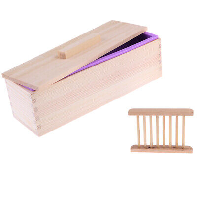 1pc New Rectangular Soap Silicone Loaf Mold Box Wood Soap Tray Holder Set