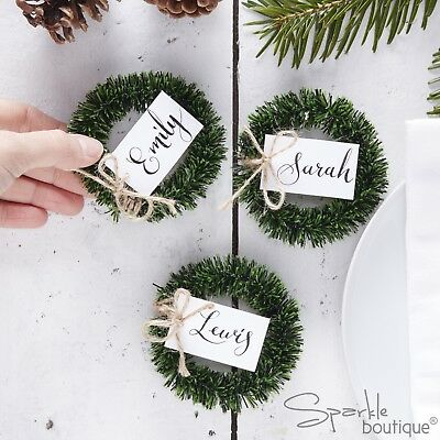 MINI WREATH PLACE NAME CARD HOLDERS - Christmas Table Decoration - RANGE IN SHOP