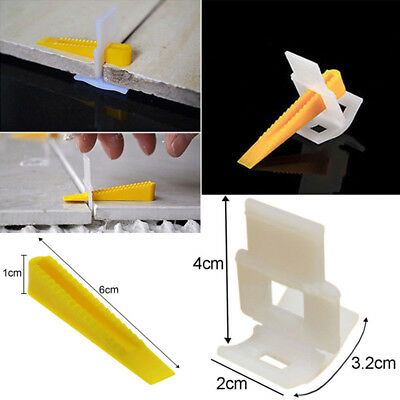 Tile Leveling Spacer System 100 Clips + 100 Wedges Flooring Level Lippage Tool