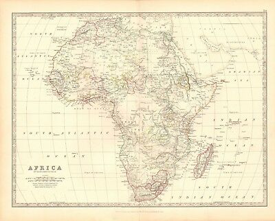1880 Antique Map - Africa, Full Continent, Madagascar