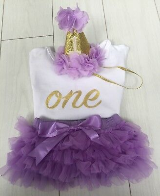 Baby Girls Cake Smash First 1st Birthday Outfit Tutu Knickers Hat Top Set Lilac