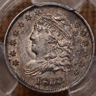 1833 LM-9 Capped Bust half dime, PCGS AU55, crusty orig   DavidKahnRareCoins