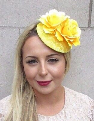 Yellow Rose Flower Pillbox Hat Fascinator Hair Clip Races Wedding Vintage 3837