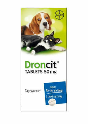 Tapeworm Tablets Cats & Dogs, Droncit Worming Capsules,  DeWormer Pills.