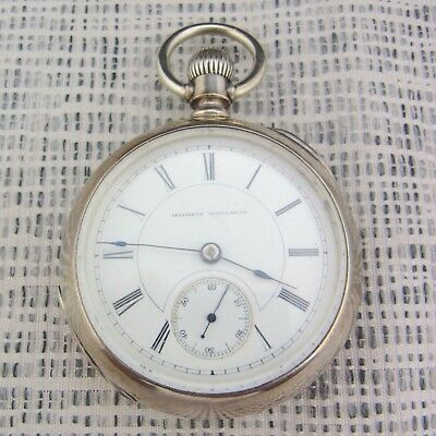 alte Taschenuhr Illinois Watch Co,Springfield USA 1914/15 Silber 900/-