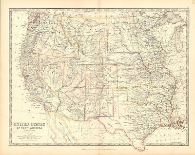 1880 Antique Map - United States, Western States
