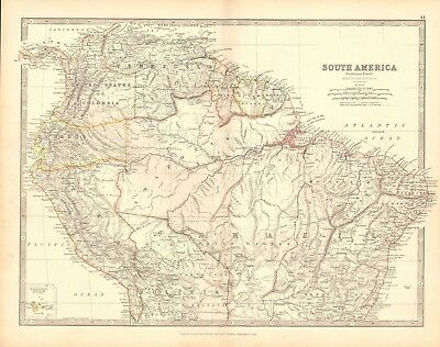 1880 Antique Map - South America, Northern Sheet